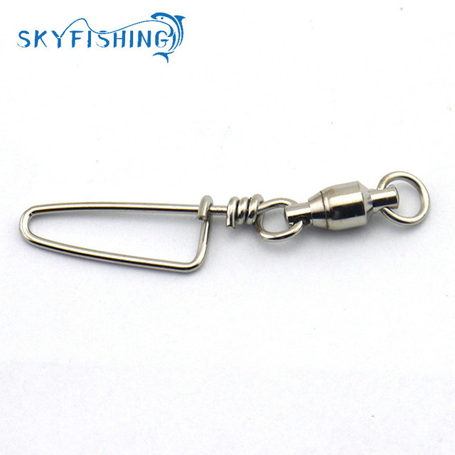 10pcs/bag Stainless Steel Ball Bearing Fishing Swivels Snap Different Size Rolling Sea Fishing Swivels Snaps Connector