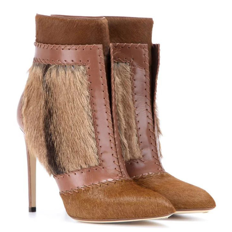 Autumn/Winter Boots Soft Leather Fur Boots Women's New Thin High-heeled Ankle Boots Fashion Patchwork Shoes Boots Women 2016