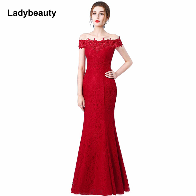 Beads Lace Mermaid Long   Evening     Dress   2018 Cheap Red Prom   Dresses   Robe De Soiree Off The Shoulder Party   Dress