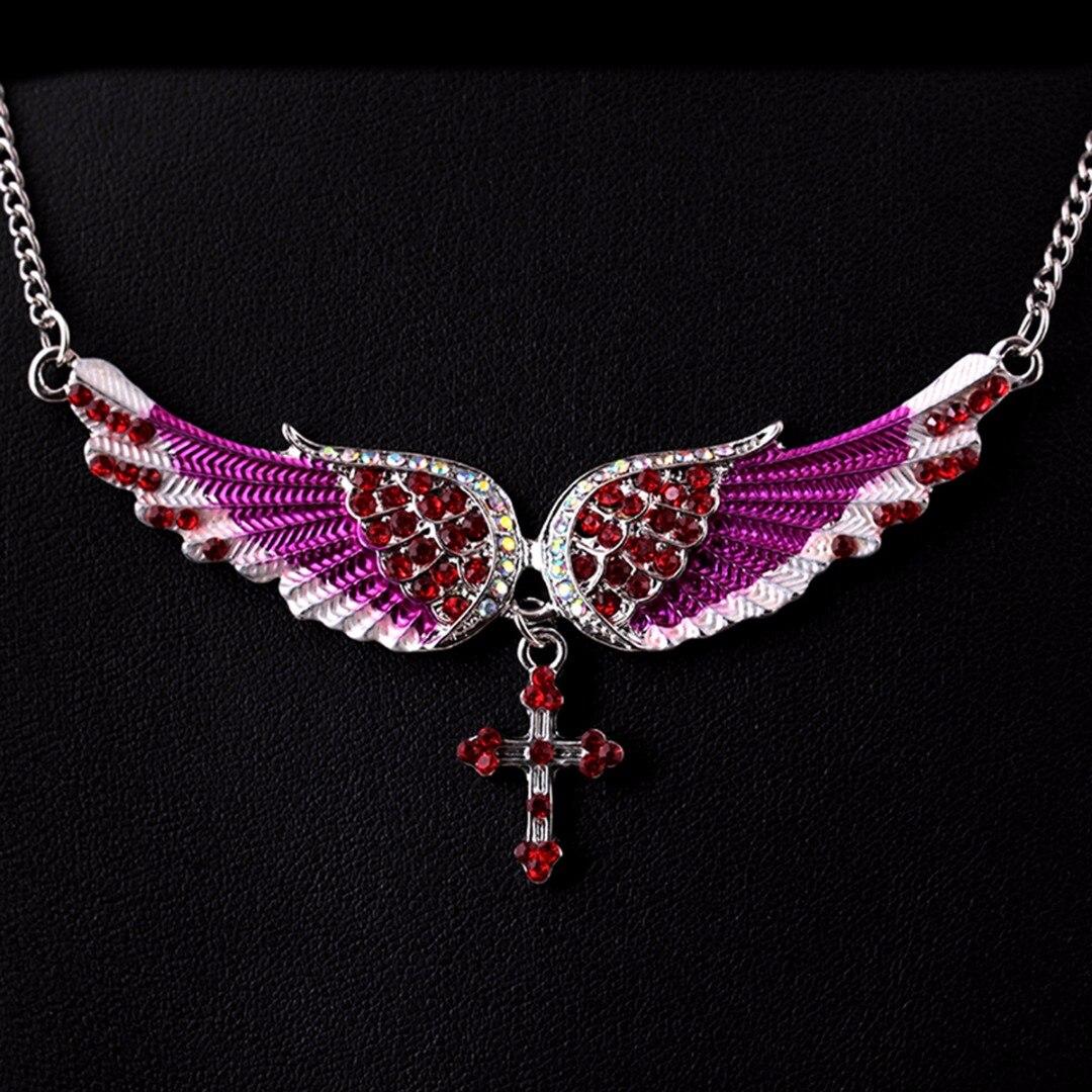 Sexy Women Statement Choker Necklace Shellhard Crystal Angels