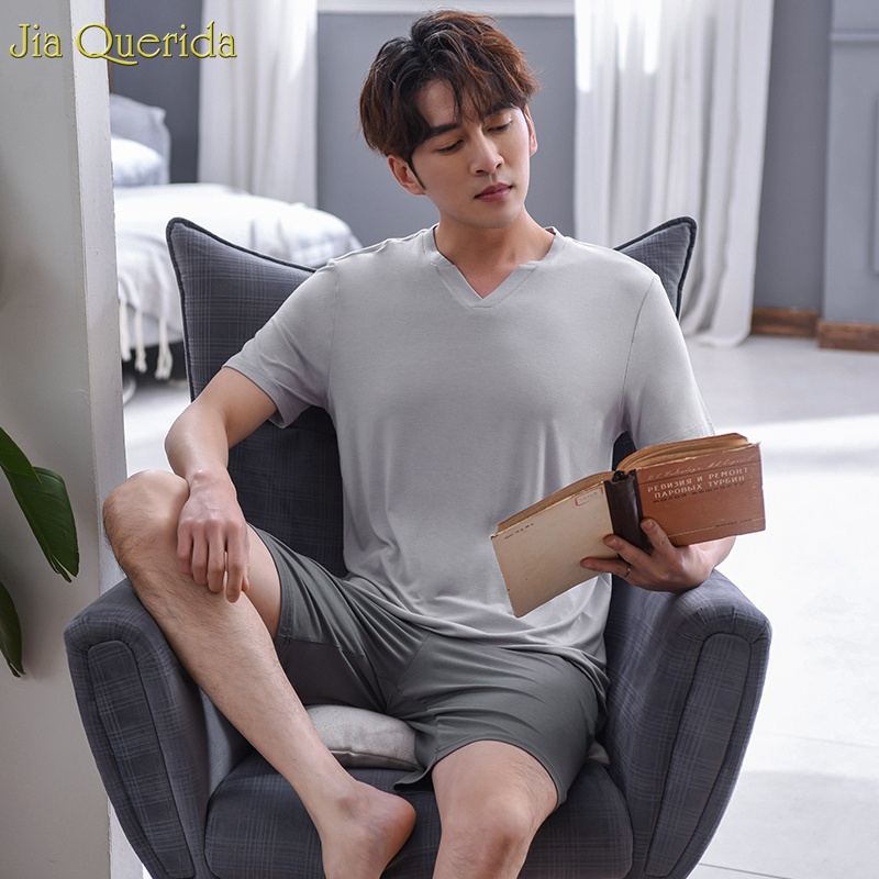Set Solid Pajama Men 2019 New Fashion Cotton Chinese Pajamas Summer Short Sleeves Pants Chic V-collar Leisure Men Sleeping Suit