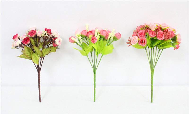 Autumn 15 Heads Silk Roses Bract Artificial Flower For Wedding And Christmas Decor 6