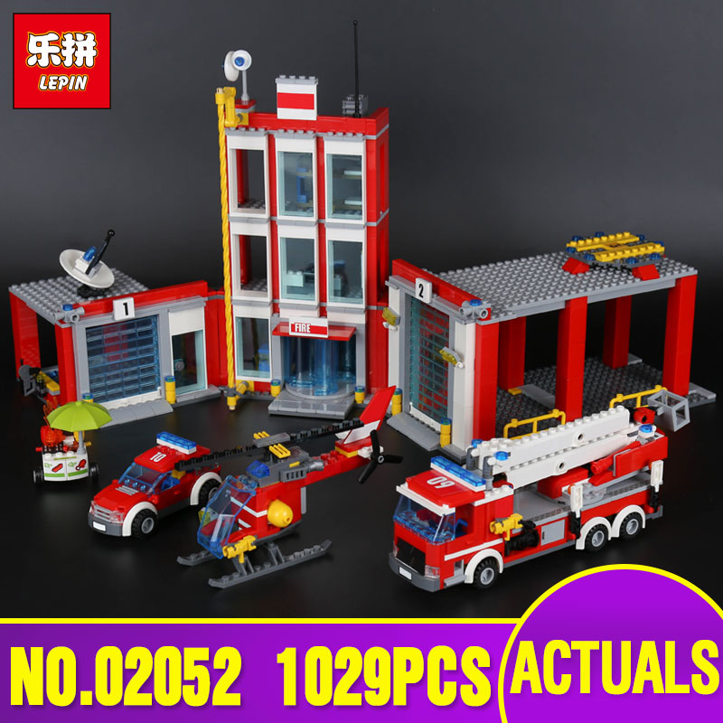 Lepin 02052 Genuine City Series 1029Pcs The Fire Station Set 60110 Building Blocks Bricks Educational Toys As Christmas Gift lepin 02052 genuine 1029pcs city series the fire station set 60110 building blocks bricks educational toys christmas gift model