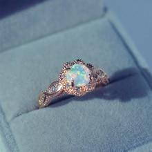 Rose Gold Color Flower Shape Opal Rings