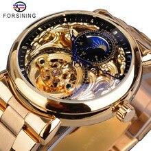 Forsining Heren Skeleton Automatische Mechanische Horloge Golden Vintage Moon Phase Staal Mannelijke Horloge Top Merk Luxe Montre Homme