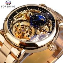 Forsining Mens שלד אוטומטי מכאני שעון זהב בציר ירח שלב פלדת זכר שעוני יד למעלה מותג יוקרה Montre Homme
