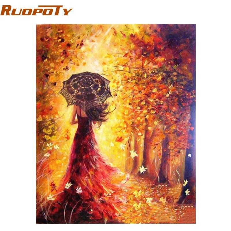 RUOPOTY paraguas marco mujeres paisaje DIY pintura por números hogar pared arte moderno de la decoración para el hogar ilustraciones 40X50