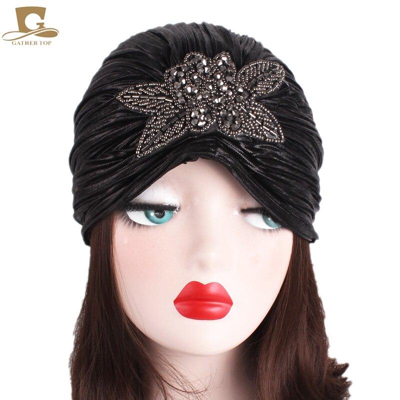 New Luxury Metallic Shinny Ruffle Turban Head Wrap Women Marriage Cap with beaded flower women Indian Cap Turbante Hat in Women 39 s Hair Accessories from Apparel Accessories