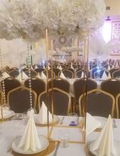 10PCS Gold Flower Vase  Floor Vases Column Stand Metal Road Lead Wedding Table Centerpiece Flower Rack Event Party Decoration