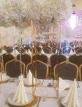 10Pcs Gold Bloemenvaas Vloer Vazen Kolom Stand Metalen Weg Leiden Bruiloft Tafel Middelpunt Bloem Rack Evenement Partij Decoratie