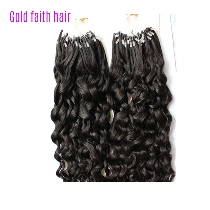 Micro ringbead loop hair extensions curly brazilian human virgin micro ringbead loop hair extensions curly brazilian human virgin hair easy use care high quality remy extension gold faith hair in micro loop ring hair pmusecretfo Images