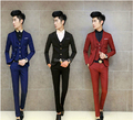 Men's Clothing Suits Set 3PCS/ Set Mens Suit 2017 Fashion Korean Style Terno Slim Solid Color Black Navy Wedding Blazer Pant