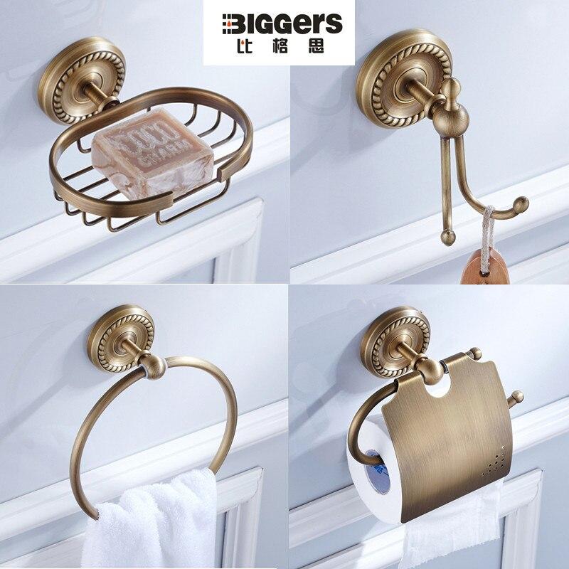 trasporto libero lusso in stile europeo bronzo antico accessori per il bagno set 4 pz