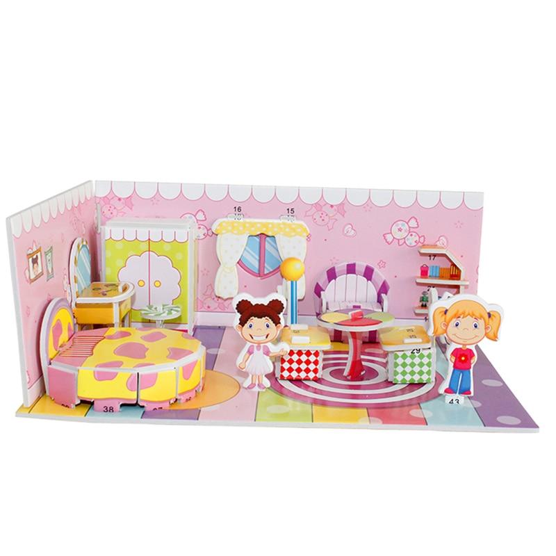 Lagere Prijs Met 3d Puzzel Veilig Schuim Model Building Architectuur Diy Huis Diy Roze Mooie Meisje Huis Meubels Bed Speelgoed Voor Kinderen