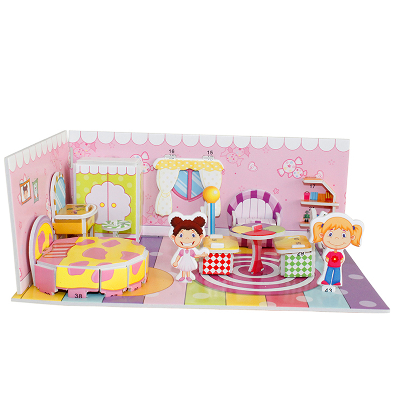 3D Puzzle Safe Foam Model Building Architecture Diy House Diy Pink Lovely Girl's House Furniture Bed Toys For Kids