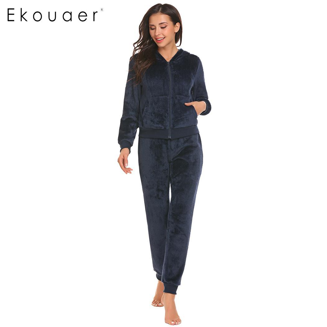 Ekouaer Warm Women   Pajama     Sets   Winter Sleepwear Fleece Hooded Long Sleeve Tops Elastic Waist Nightwear Suit Female   Pajamas
