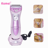 Kemei Waterproof Lady Shaver Rechargeable Body Hair Removal Shaving Device Cordless Trimmer for Bikini Underarm Lady Depilation