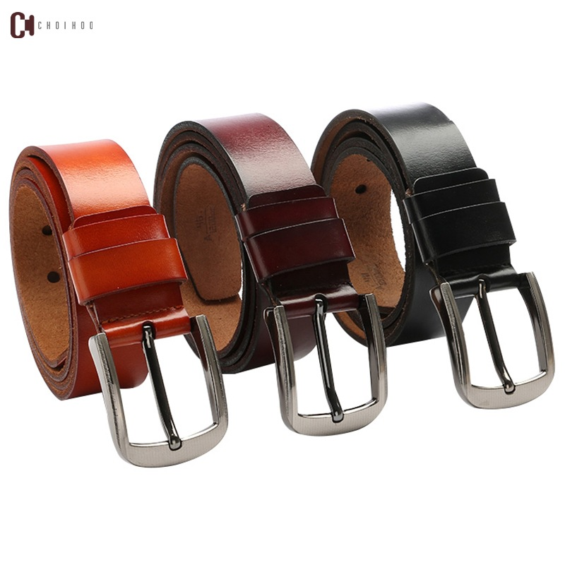 2018 Luxury genuine leather   belt   men vintage real leather   belts   men's jeans strap black wide strapping waistband brown 270