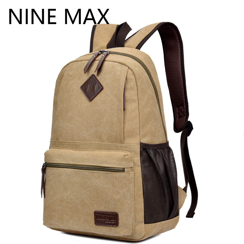 ФОТО Canvas Luxury Double Shoulder Bags Vintage Fashion Male Backpack Men Casual Travel Rucksack Waterproof  Laptop Package For Men