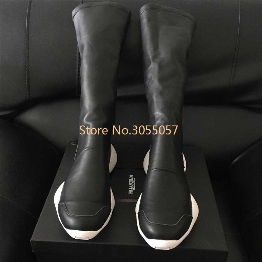 Style Hiver Bottes 2017 Véritable Streetwear Genou Top Fer À Suede Orteil Cuir Nouveau Unisexe noir High Chaussette Haute Cheval De En F13TKcJl