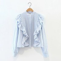 S M L Ladies Flounced Blue Stripe Shirt Collar 2017 Spring Korean Small Fresh Female Blue