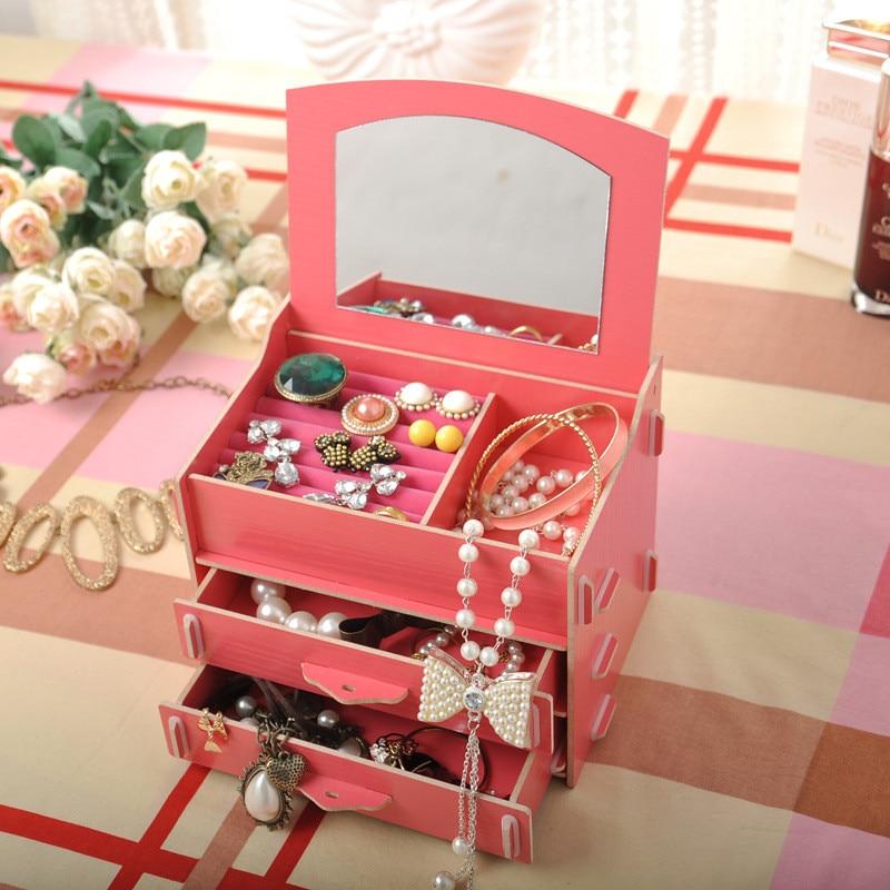 Diy Wooden Cosmetic Storage Box Multi-function Office Desktop Storage Boxes Makeup Jewelry Storage Organizer Shelf Racks
