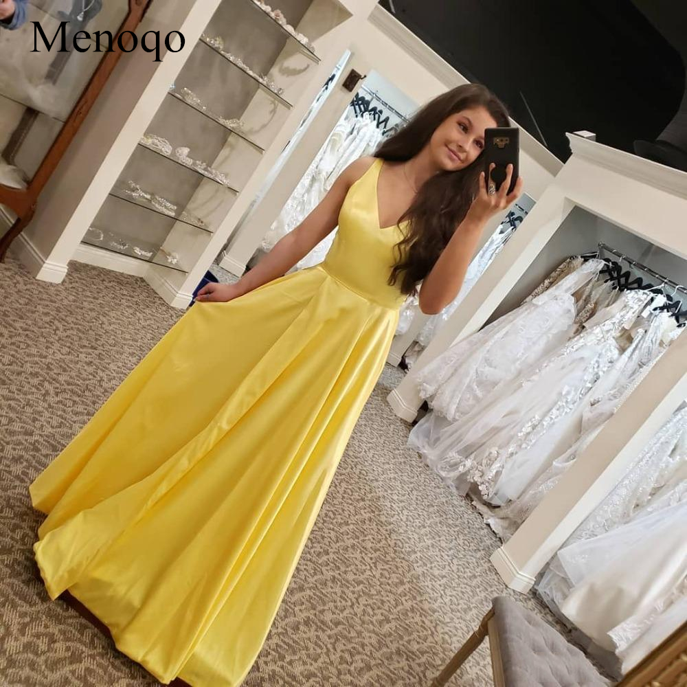 Menoqo Simple Yellow   Prom     Dress   A-Line Formal Party   Dresses   V- Neck Sleeveless Side Split Evening Gown Vestido de noite