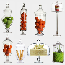 Transparent Glass dust-proof dessert candy jars  bottles Crafts creative tea caddy Boxes storage jar