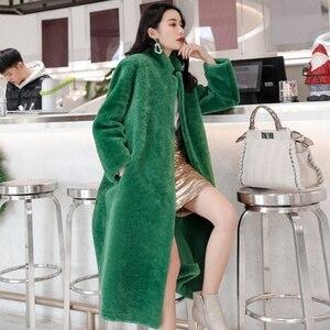 Image 1 - חורף גברת 100% אמיתי מרינו כבשים פרווה מעיל ארוך סגנון כפול מתמודד אמיתי כבש פרווה הלבשה עליונה אלגנטי נשים חורף חם מעיל