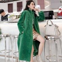 Senhora do inverno 100% real Pele De Ovelha Merino jaqueta estilo longo dupla face genuína pele de cordeiro outerwear elegante mulheres inverno quente casaco