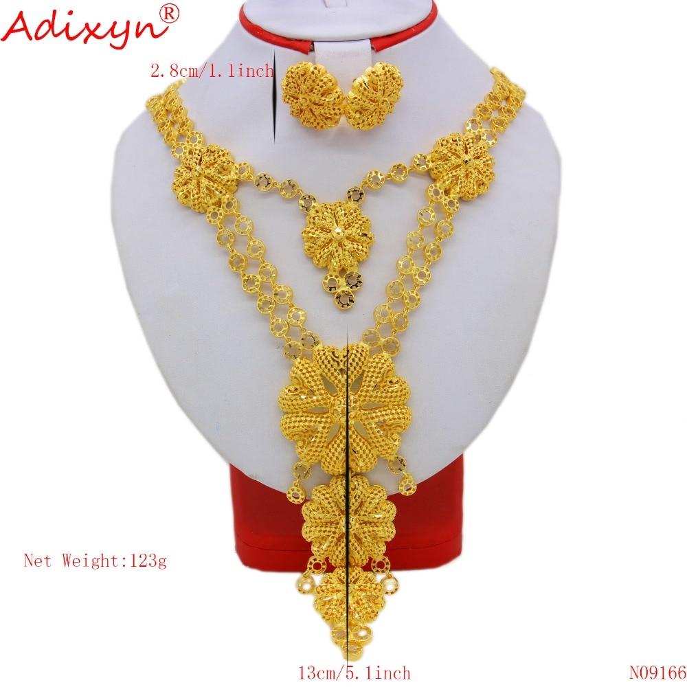 Adixyn ใหญ่ขนาดอินเดียความยืดหยุ่นสร้อยคอ/ต่างหูชุดเครื่องประดับสำหรับสตรี Gold สีเอธิโอเปียหมั้นของขวัญ N09166-ใน ชุดเครื่องประดับเจ้าสาว จาก อัญมณีและเครื่องประดับ บน   2