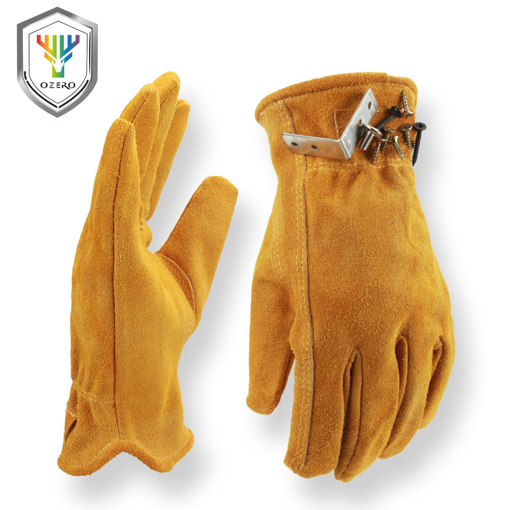 OZERO Men's Work Gloves Driver Cowhide Magnet Adsorption Design Warm Windproof Security Protection Wear Safety Working Gloves