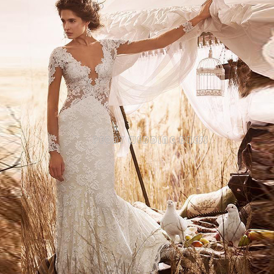 bbf0b63864 Sexy See Through Long Sleeve Wedding Dresses Ivory Lace Mermaid Wedding  Dress Cheap Bridal Gowns Online Wedding Dresses PM144-in Wedding Dresses  from ...