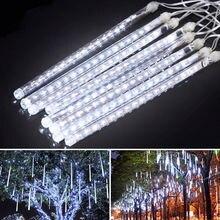 30CM Meteor Shower Rain 8 Tube LED Solar String Lights Christmas Wedding Garden