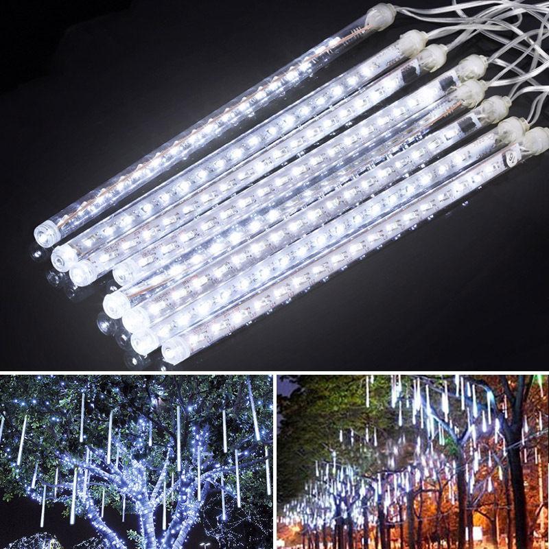 30CM Meteor Shower Rain 8 <font><b>Tube</b></font> LED Solar String Lights Christmas Wedding Garden