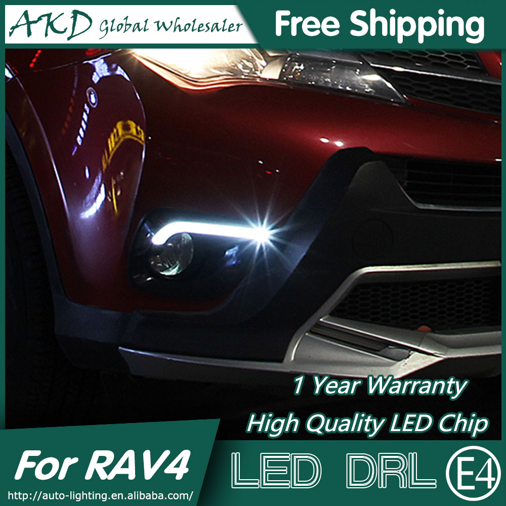 AKD Car Styling for Toyota RAV4 DRL 2014-2015 New Rav4 LED DRL LED Daytime Running Light Fog Light Parking Accessories akd car styling for kia sportage r drl 2014 new sportager led drl korea design led running light fog light parking accessories