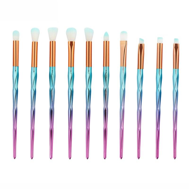 10 pcs Diamond Rainbow Make Up Brush Set Professional Eye Make Up Eyeliner Eyebrow Eyeshadow Brush Set Rose Gold Makeup Brushes