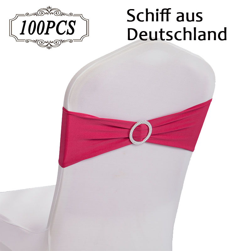 Hot Sale 100PC Pack High Quality Elegant Lycra Chair Bands with Buckle Spandex Chair Sashes for