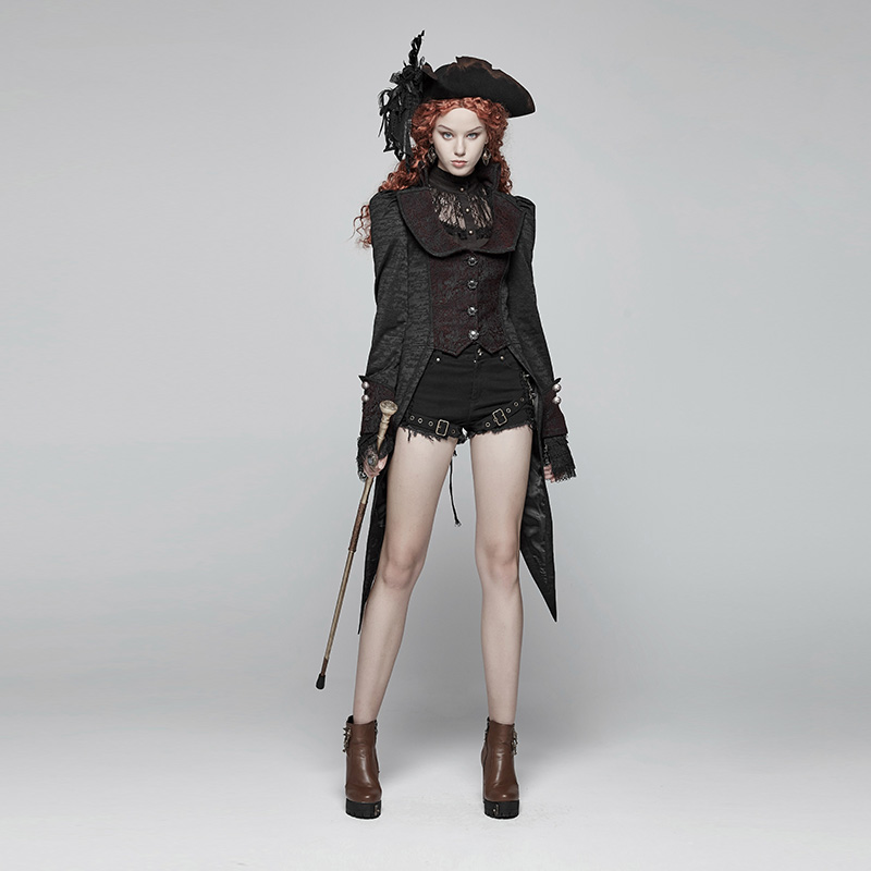 PUNK RAVE Women Gothic Swallow Tail Jackets Retro Jacquard Adjustable Coat Evening Party Stage Performance Women Winter Jackets