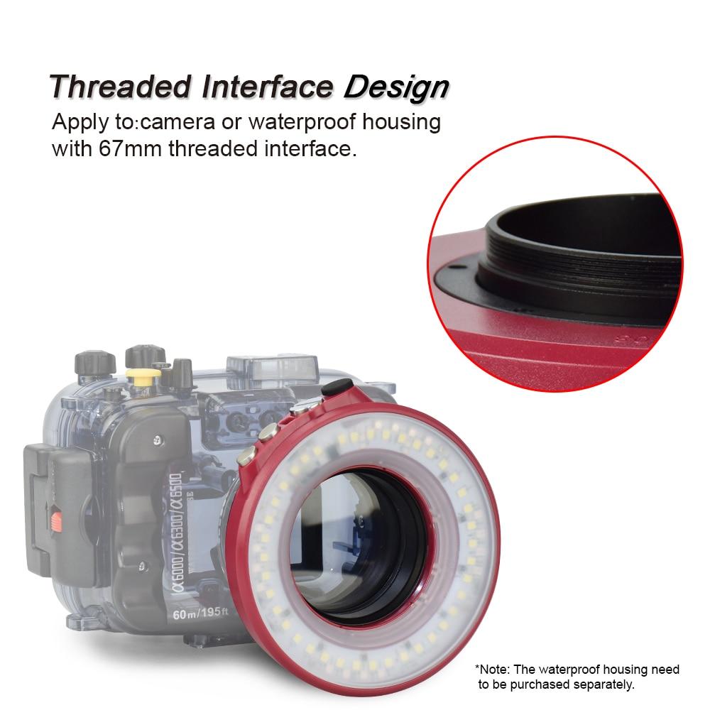 SL 108 67mm Waterproof Underwater Diving LED Ring Light Macro Ring For Olympus TG 5 TG5