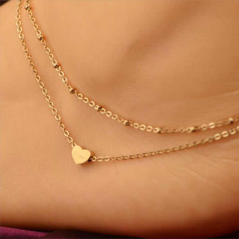SL130 Temperament Double-layer Anklet Heart Bracelet Foot Accessories Women Anklets Bracelets Fashion Jewelry For Gift