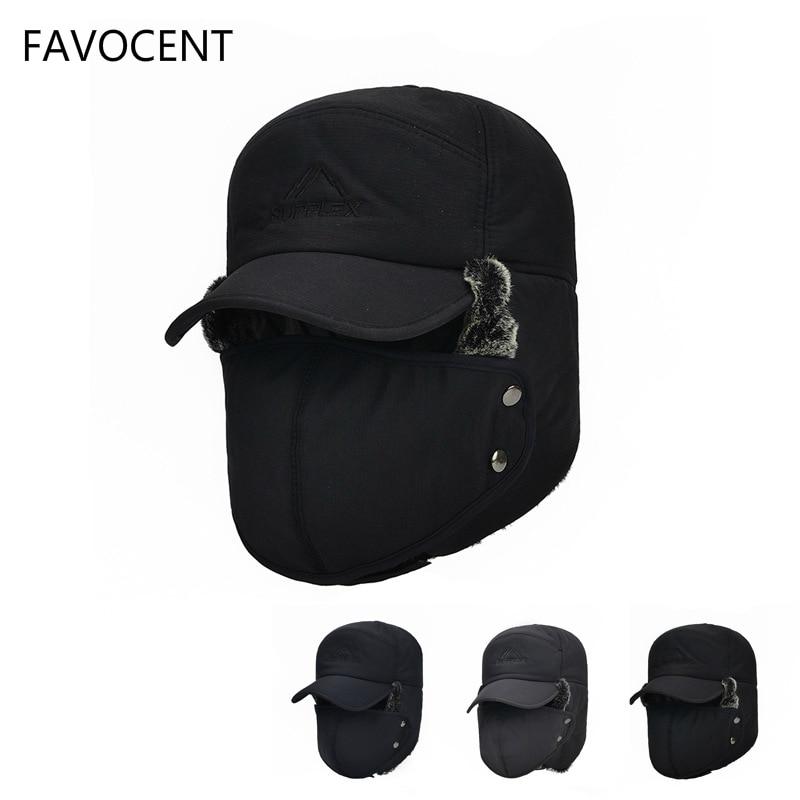 bc6bb1d3871 FAVOCENT Men s Ear Protection Face Bomber Hats Thicker Plus Velvet Warm  Woman Windproof Winter Hat Snow Male Bone Cap Ski Hat