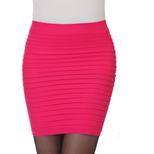 New Fashion 2016 summer style Elastic Women Skirts High Waist Candy Color Plus Size Elastic Pleated Short Skirt