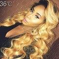 7A 1B / 27 Ombre pelucas llenas del cordón humano onda del cuerpo del pelo virginal brasileña sin cola peluca del frente del cordón Ombre negro Women nudo blanqueado