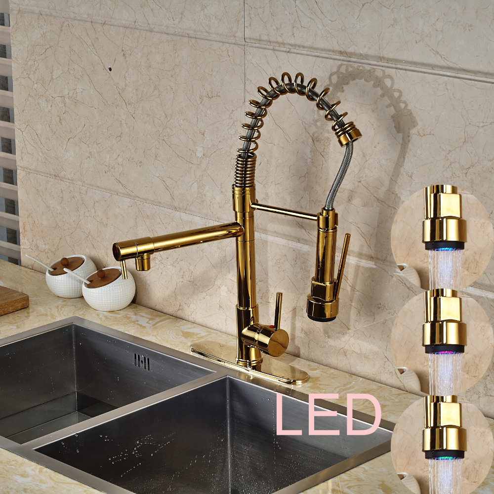LED Color Changing Golden Kitchen Faucet W Cover Plate Vessel Sink Mixer Tap