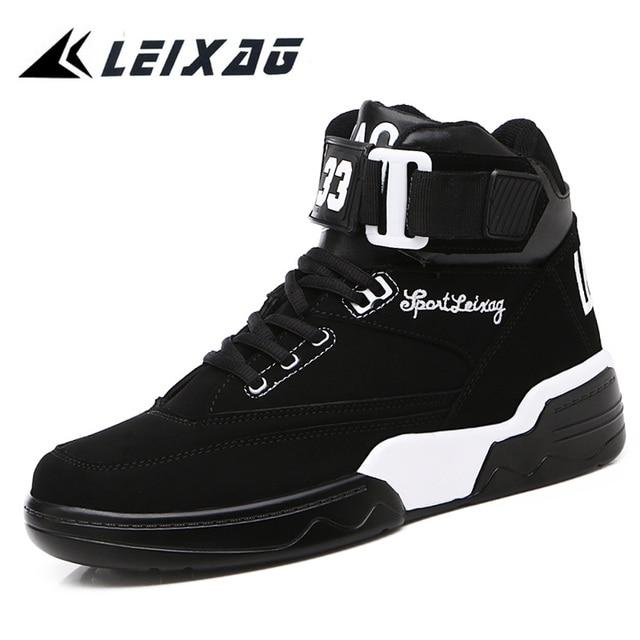 LEIXAG pria Sepatu Redaman Pria Olahraga Sepatu Basket Trainers Kulit  Tinggi Top Bernapas Sneakers Luar Sepatu 0e2172c1ef
