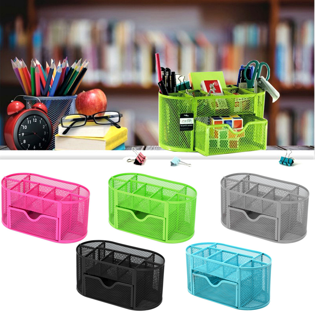 Office Desk  Supplies Pencil And Pen Holder  Desktop  Organizer Metal Storage