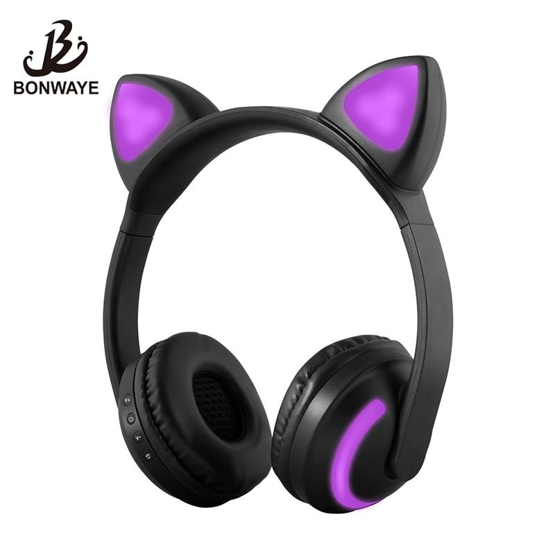 BONWAYE Wireless Bluetooth Cat Ear Headphones with Seven kinds of LED light Flashing Glowing Cosplay Fancy