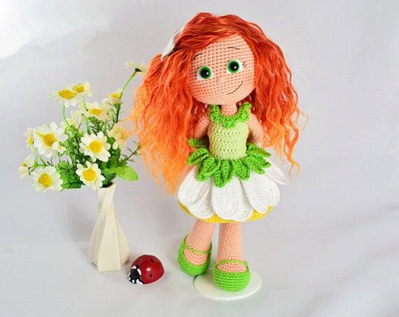 Amigurumi crochet fleur style poupée nommé han hochet poupée et jouet - 2
