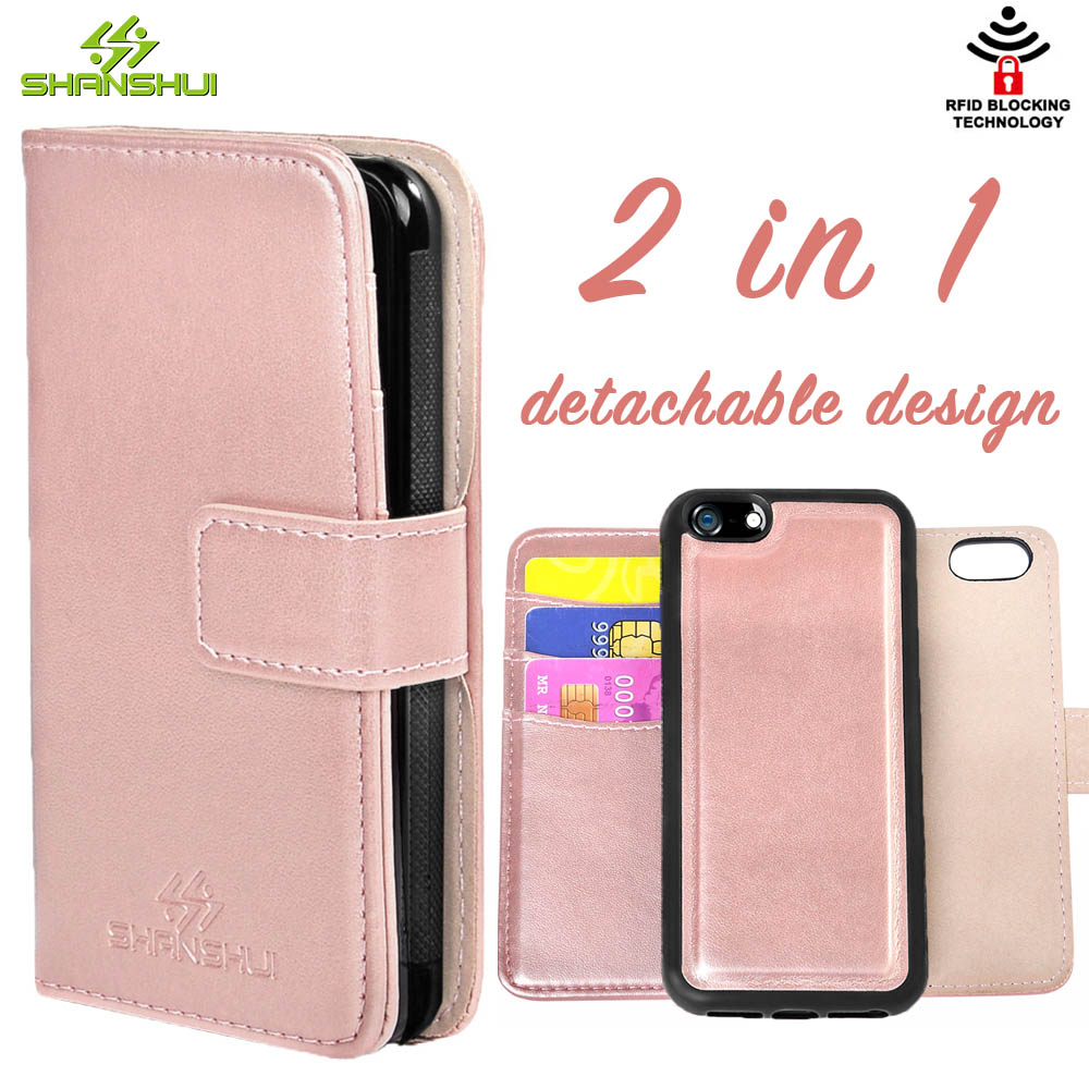 pretty nice 32be9 ea03d US $8.99 |Leather Case for iPhone 5 5s SE SHANSHUI Luxury Detachable 2in1  PU Rose Gold Wallet RFID 360 Full Protection Magnetic Flip Cover-in Wallet  ...